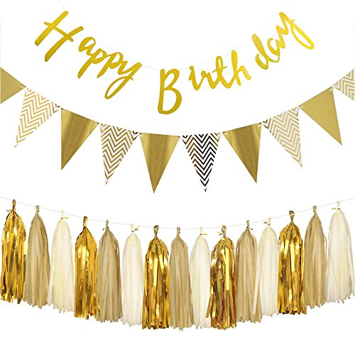 Gold Geburtstag Dekoration Set,Happy Birthday Banner, Paper Pennant Banner Triangle Flags With Tissue Paper Tassels Garland Paper Garland Birthday Decoration kindergeburtstag deko