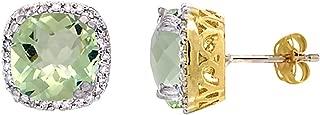 10k Gold Diamond Halo Natural Color Gemstone Stud Earrings Cushion Shaped 7x7 mm