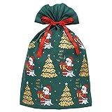 インディゴ クリスマス ラッピング袋 グリーティングバッグ4L メリーサンタ ダークグリーン XG605