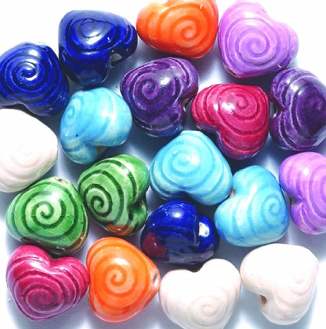 Peruvian 10mm Hand Crafted Ceramic Heart Beads with Spiral Mix, 10 per Pack