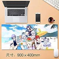 Vampsky Honkaiインパクト3マウスパッド大型マウスパッド、ゲーミングマウスマットパッドカスタムプロフェッショナルグラフィティマウスパッド、ステッチエッジ、理想デスクカバーするために、コンピュータのキーボード、PCおよびラップトップ90 * 40センチメートル (サイズ : Thickness: 3mm)