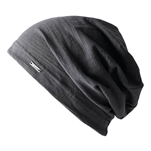 CHARM Summer Beanie for Men & Women - Slouchy Lightweight Chemo Cotton Hipster Fashion Knit Hat Dark Gray