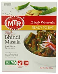 INDIAN FOOD OKRA  WITH BLEN  D OF MILD SPICES VEGETABLES ENTREES VEGETARIAN.NON SPICY READY TO EAT INDIAN  MEALS