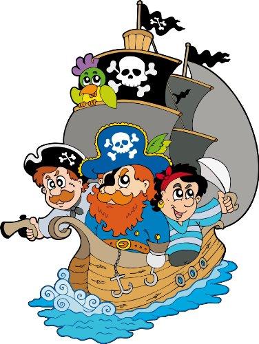 Aufkleber Kinder, Boot und Piraten, Höhe 30 cm