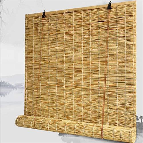 RENQIAN Bamboe Shades|Rolgordijnen| Rieten jaloezieën geschikt voor binnen- en buitenschaduw Ventilatie Waterdicht Gemaakt van Riet Blind
