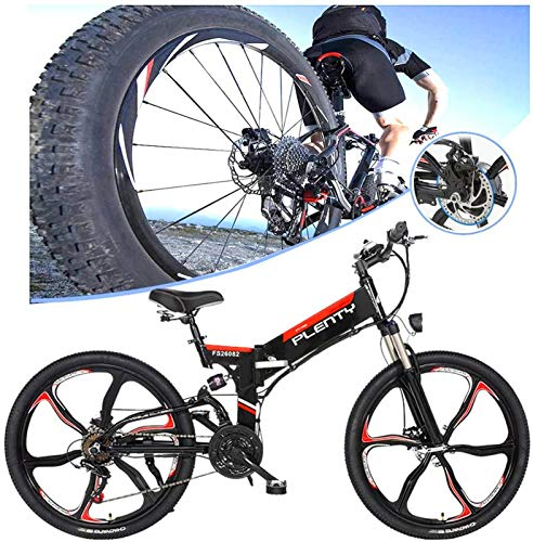 Electric Bike Electric Mountain Bike, Adults 480W Electric Bicycle Folding Electric Bike High Speed Brushless Gear Motor With Removable 48V10A Lithium Battery 7-Speed Gear Speed E-Bike,for Man Women f