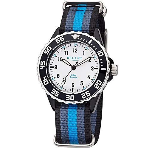 Regent URBA383 - Orologio da polso per bambini e ragazzi, analogico, cinturino in tessuto blu, grigio, nero, al quarzo, quadrante bianco