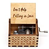 HOSALA Can't Help Falling in Love Classical Music Box Handmade Laser Engraved Vintage Wooden Hand Crank Musical Gifts for Wedding/Birthday/Christmas/Valentine's Day (Can't Help Falling in Love)