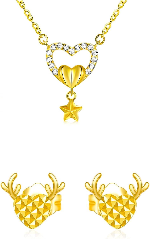 18K Gold Jewelry Set, Star Heart Necklace and Antker Heart Stud Earrings