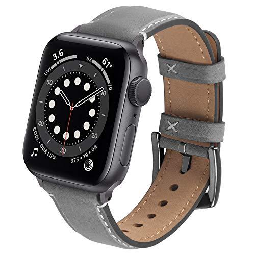 GerbGorb Lederarmband Kompatibel mit Apple Watch Armband 42mm/44mm/45mm, Vintage Leder Ersatzarmband für Damen Herren, Leder Armbänder mit iwatch SE Serie 7 Serie 6 Serie 5 Series 4/3/2/1