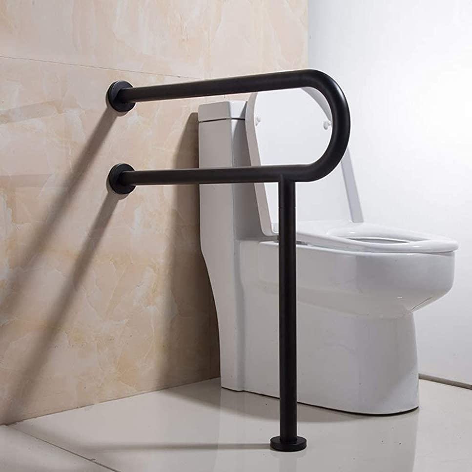 つらいウェーハ報奨金バスルームアームレスト-ブラックU字型304ステンレス鋼バリアフリーバスルーム手すり、高齢者用安全滑り止めトイレ/バスタブ手すり、さび止めなし、600 * 750mm 安全性