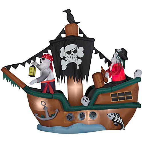 Animated Halloween Inflatable Skeleton Pirate Ship