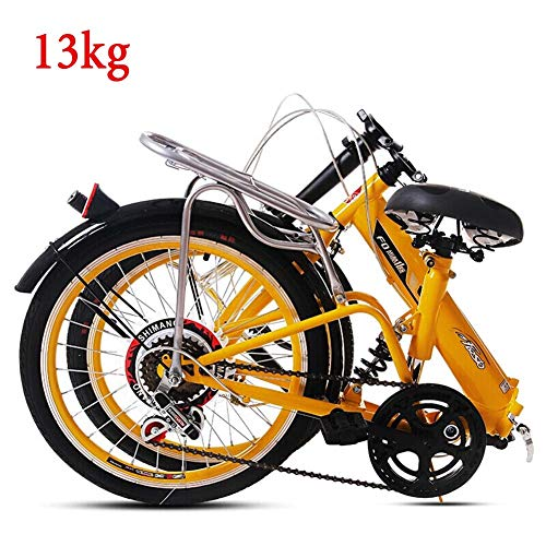 Grimk Folding Bike Unisex Alloy City Bicycle 20' With Adjustable Handlebar & Seat 6 speed,comfort Saddle Lightweight For Adults Men Women Teens Ladies Shopper