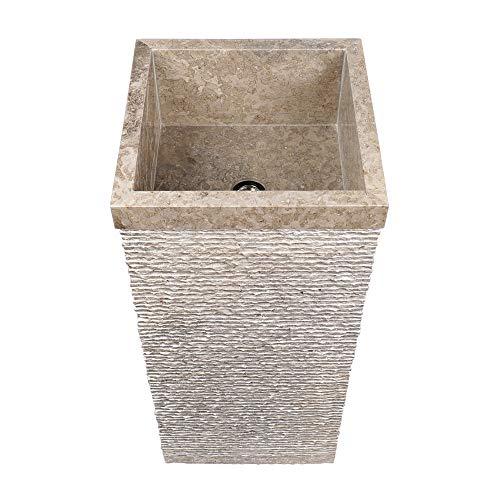 wohnfreuden Marmor Stand-Waschbecken 40x40x90 cm Wachsäule gehämmert in grau