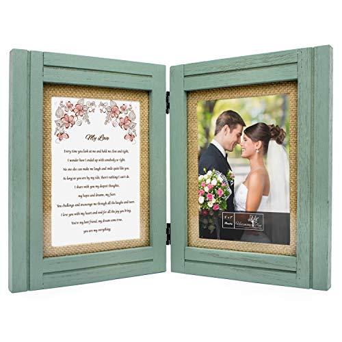 Gifts for Wife, Girlfriend, Fiance, Husband, Boyfriend - 5x7 Rustic Wood...