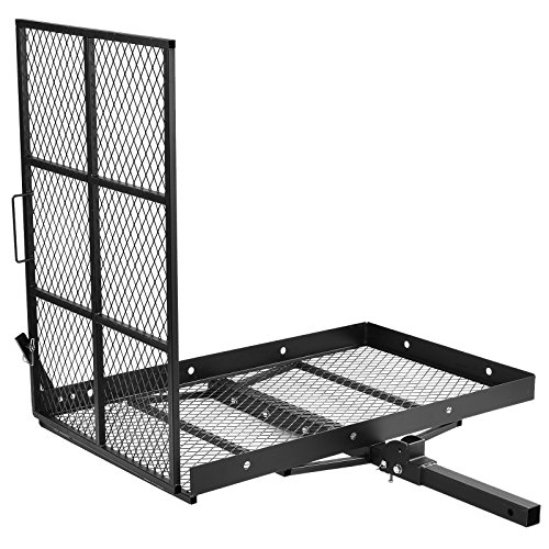 SUNCOO Mobility Scooter Foldable Wheelchair Carrier Disability Medical Cargo Rack with Loading Ramp Hitch Mount,Heavy Duty Steel 400 lb. Capacity 48 L X 28 W X 42.25 H