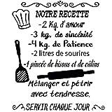 Docliick® Sticker mural décoratif en français 'NOTRE RECETTE' Stickers muraux en français aux phrases celebres.Autocollant lettre Docliick DC-048-FR
