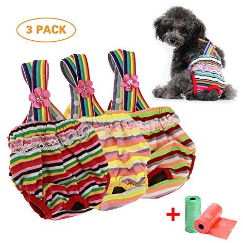TVMALL Pañales para Perros Pantalones Sanitarios Lavables Reutilizables con Mascotas Perros Fisiológicos para Gatos de Perros Solución Sanitaria para la Incontinencia de Mascotas - 3 Paquetes