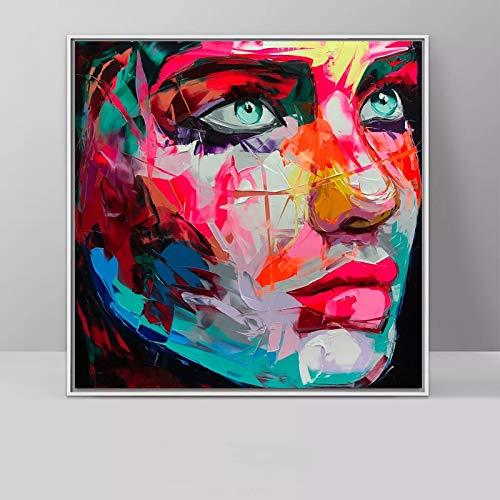 Flduod Wall Art Canvas Schilderij Kleurrijk Gezicht Olieverf Decoratieve Kunst Canvas Voor Woonkamer Moderne Decoration60x60cm