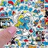 BUCUO Lindo Pitufo Anime Dibujos Animados Impermeable Pegatina Trolley Caso monopatín Taza de Agua Mano Cuenta decoración Pegatina 50 Uds