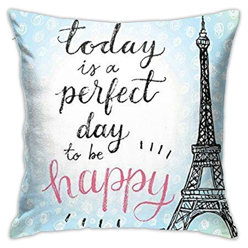 87569dwdsdwd Eiffel Tower Square Pillow Case Home Sofa Decorative 18' X 18'Inch Ultra Soft Comfortable