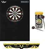 Viper Defender III Backboard & Sisal/Bristle Steel Tip Dartboard Bundle: Elite Set (Razorback Dartboard,Defender III Backboard, Edge Throw Line, 21pc Jar of Darts)