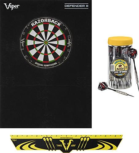 Viper Defender III Backboard & Sisal/Bristle Steel Tip Dartboard Bundle: Elite Set (Razorback Dartboard,Defender III Backboard, Edge Throw Line, 21pc Jar of Darts)