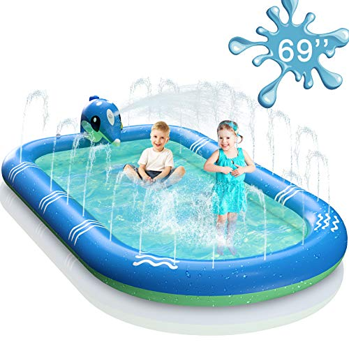 TNELTUEB 69 Inch Inflatable Sprinkler Pool for Kids, 3 in 1 Upgraded Inflatable Dolphin Splash Pad Outdoor Water Play Mat Toys for Toddler Baby Kids