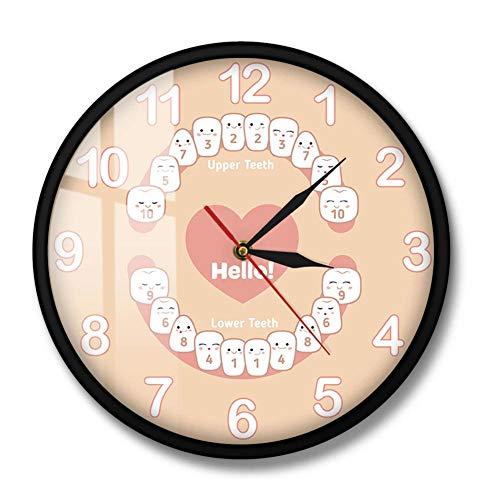 Wangzhongjie Dentición del Bebé Dentición Dental Reloj De Pared Silencioso Tabla De Dientes Temporal Niños Dientes Odontología Oficina Impresión Acrílica Reloj De Pared-Metal_Frame