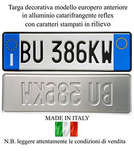 Replica Targa Auto Anteriore Modello Europeo in Alluminio Catarifrangente ed in Rilievo