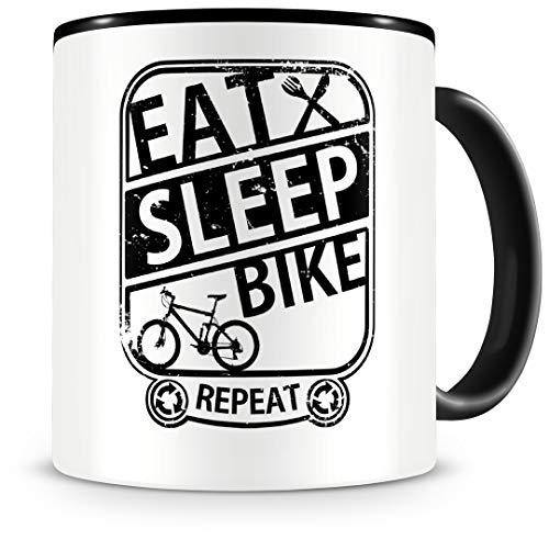 Samunshi® Mountainbike MTB Tasse mit Spruch Eat Sleep Bike Repeat Geschenk für Biker Kaffeetasse groß Lustige Tassen zum Geburtstag schwarz 300ml
