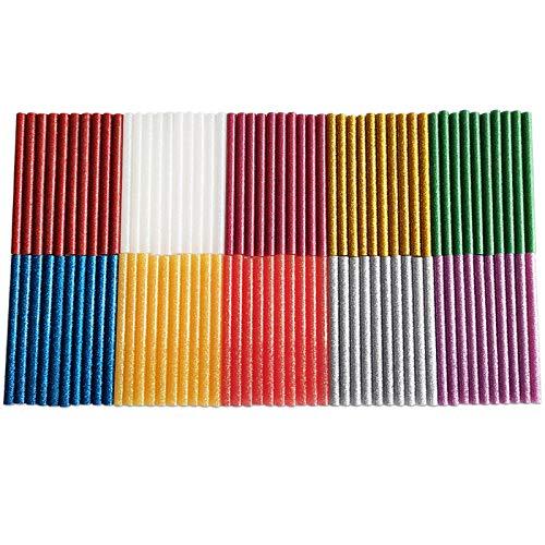 FANGZI 100 Stück Glitzernd Heißklebestifte 100 x 7mm Klebestifte für DIY Handwerk - Mehrfarbig