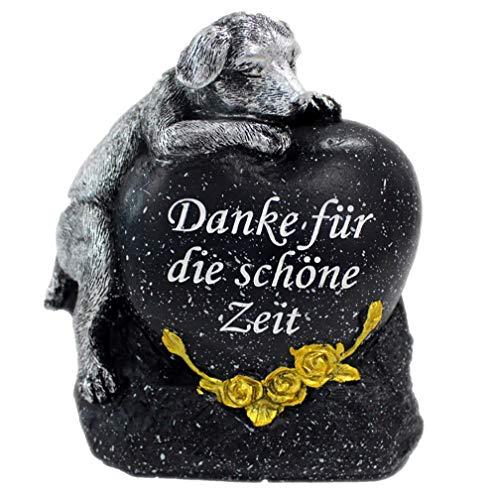 Fachhandel Plus Grabdeko für Hund oder Katze mit Herz Spruch und Rosen Grabschmuck Gedenkstein, Motiv:Hund