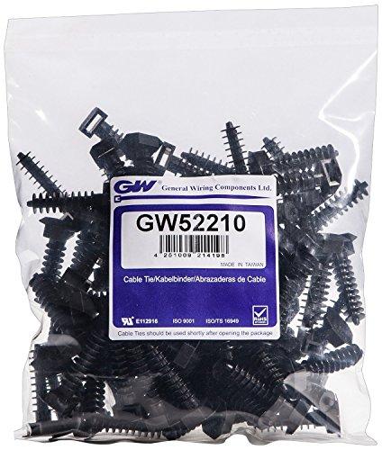 GW Kabelbinder-Technik, Einschlaghalter für Kabelbinderbreite bis 9 mm, schwarz, 100 Stück, GW52210BC