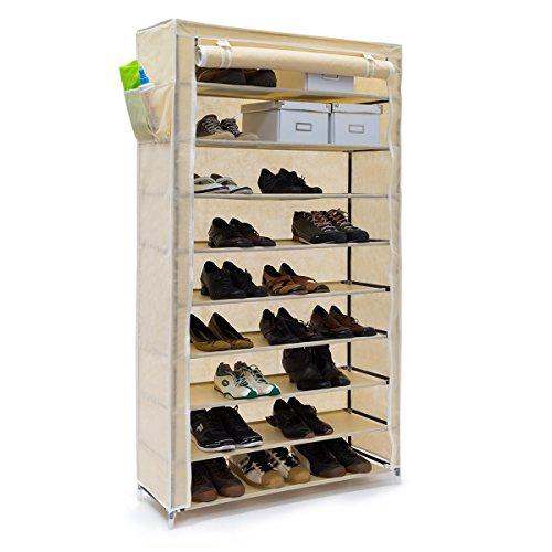 Relaxdays Schuhschrank VALENTIN hoch H x B x T: 161 x 88 x 30 cm Schuhregal mit Stoffbezug und 10 Ablagen Stoffschrank mit Reißverschluss für staubfreie Lagerung Schuhständer für 45 Paar Schuhe, beige