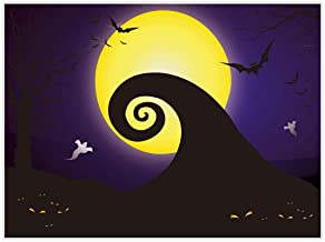 Allenjoy 8x6ft Nightmare Before Christmas Themed Backdrop for Halloween Pumpkin Jack Theme Birthday Baby Shower Photo Studio Photography Pictures Background Party Home Decor Decoration Shoot