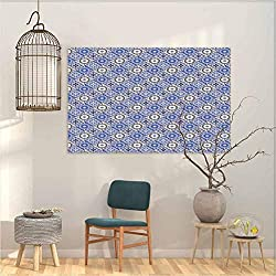 Peel and Stick Wallpaper Moroccan Diagonal Rhombus Pattern with Oriental Ornament Cultural Inspirations Home Decor Wall Art 31x35