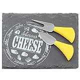 COM-FOUR® Tabla de quesos con cuchillo para quesos - tabla de pizarra natural - tabla de quesos con tenedor y cuchillo para quesos de acero inoxidable - aprox. 22 x 16 cm (01 pieza cuadrado)