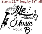 Walls with Style Life Without Music Would B Flat Music Lovers Decals (Black, Trumpet)