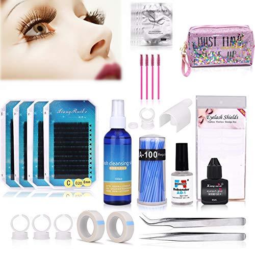 Kit de entrenamiento de extensión de pestañas, kit de accesorios de práctica de maquillaje natural profesional de Twowin con pegamento para principiantes de inicio