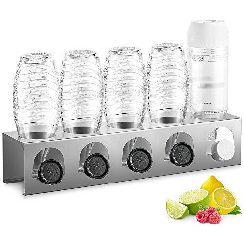 ecooe Abtropfhalter aus Edelstahl Abtropfständer für SodaStream und Emil Flaschen Platz Für 5 Flaschen und 5 Deckel Spülmaschinenfest