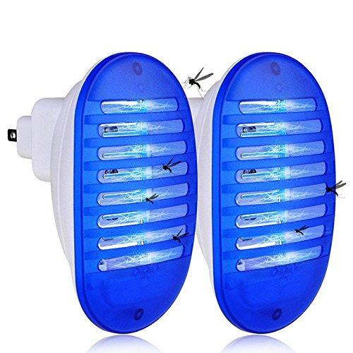 SAMMIU 2 Pack Plug in Mörder Lampe Innen, Fliegen Schädlinge Kontrolle für Hausgarten Garten Patio Büro (Blau)