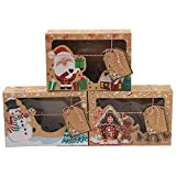 Paquete de 12 cajas de galletas navideñas, cajas de galletas navideñas con ventana transparente y etiquetas de regalo de bricolaje, para regalar dulces de pastelería