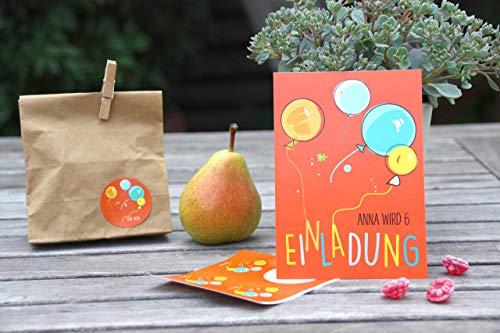 SET 6 STÜCK personalisierte Einladungen zum Kindergeburtstag mit 6 Aufkleber für Mitgebseltüten für Eure Gastgeschenke - Luftballon