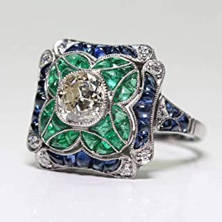 Yuren 925 Sterling Silver Vintage Emerald Ring Blue Sapphire White Topaz Ring Women Wedding Fashion Jewelry Size 6-10 (US Code 8)