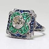 Yuren 925 Sterling Silver Vintage Emerald Ring Blue Sapphire White Topaz Ring Women Wedding Fashion Jewelry Size 6-10 (US Code 8)