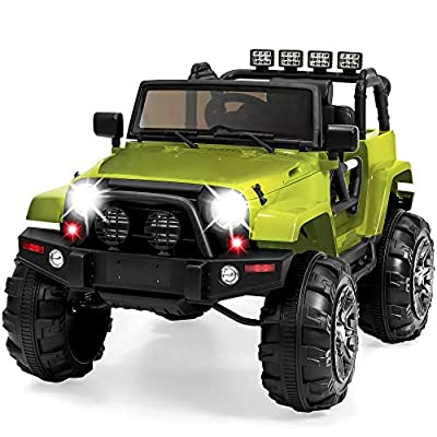 Best Choice Products 12V Kids Ride On Truck Car w/ Remote Control, 3 Speeds, Spring Suspension, LED Lights, AUX - Green