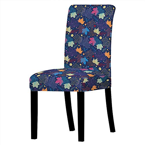 Funda De Silla 3D Impreso Abstracto Arce Azul Hojas High Back Elastic Installation Chair Slipcover Cover,Washable Soft Recupera Rápidamente Chair Seat Protector For Kitchen Hotel,Set De 6