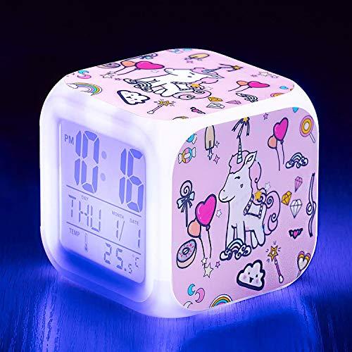 Qaxlry Unicorn Alarm Clocks,7-in-1 Night Light Kids Alarm Clocks with LED Glowing Bedroom Wake Up Alarm Clock Gifts for Unicorn Room Decor for Girls Bedroom (Blue)