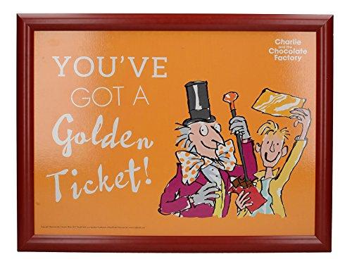 Creative Tops Roald Dahl Imbottitura Pouf Vassoio con Stampato Charlie e la Fabbrica di Cioccolato Illustrazione, Legno, Oro/Rosso, 43.5x 32.5x 6.5cm